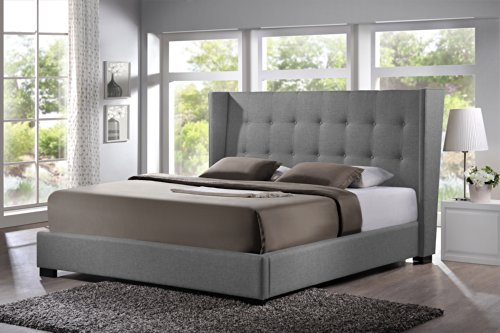 Baxton Studio Bbt6386-King-Grey-De800 (B-62) Favela Linen Modern Bed With Upholstered Headboard, King, Grey