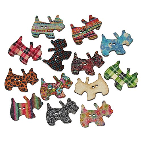 Souarts Mixed Random 2 Holes Dog Shape Wood Wooden Buttons for Sewing Crafting Pack of 100 (Buttons For Sewing And Crafting compare prices)