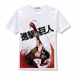 Attack on Titan Shingeki No Kyojin Short Sleeves Tee T-Shirt (White, M)
