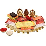 Ethnic Style Hand Art Work Stainless Steel Poojan Thali Set Embellished With Kundan & Ghungroo Work Including...