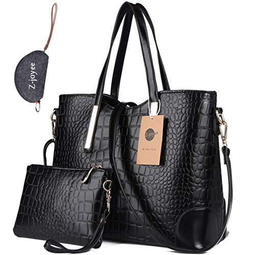 Z-joyee Women Shoulder Bag 2 Piece Tote Bag Pu Leather Handbag Purse Bags Set, Black