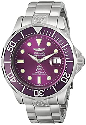 Invicta Men's 13938 Pro Diver Automatic Purple Dial Stainless Steel Watch