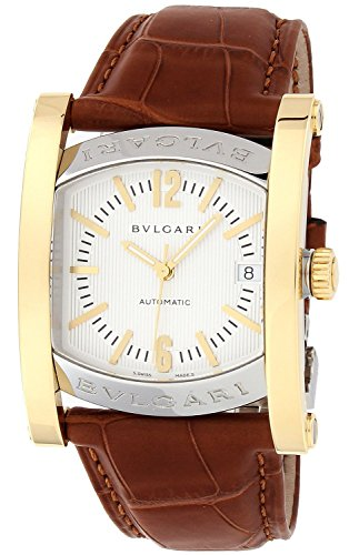 BVLGARI Ashoma Silver Dial K18YG / Stainless Steel Case Alligator Leather Belt Automatic Winding Date Men Watch AA44C6SGLD
