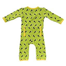KicKee Pants Neutral Baby Onepiece Coverall Romper- Meadow Toucan, Newborn