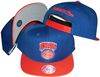 New York Knicks Blue Orange Two Tone Snapback Adjustable Plastic Snap Back Hat Cap by Mitchell & Ness