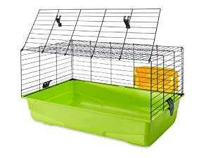 SAVIC Ambiente Animal Cage with Hay Rack, Small, 100 x 50 x 43 cm, Apple Green/ Fuchsia