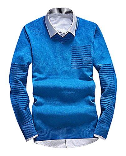 CELINO Men's Fine Knit Geometric Pattern Slim Ribbed Trim Long Sleeve Pullover, 6001Blue S ,Manufacturer(L)