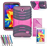 EpicGadget(TM) Gray and Pink Durable Heavy Duty Rugged Impact Hybrid Case with Build In Kickstand Protective Case For Samsung Tablet Galaxy Tab 4 7.0 inch With Galaxy Tab 4 SM-T230 Clear Screen Protector And Universal Long Touch Stylus Pen (US Seller!!) (X Stand Gray Pink)