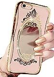 (ポルトプエルト) Porto Puerto iPhone 7/7 Plus ケース カバー 鏡 ミラー プリンセス デコ リボン シリコン バンパー ラインストーン ゴールド ローズゴールド キラキラ かわいい キュート (iPhone 7, ゴールド)