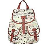 BESTOPE 2014 Fashion Girls Women s Vintage Flower Type Casual Canvas Daypack Backpack School Travel Bag (1-White Beard)