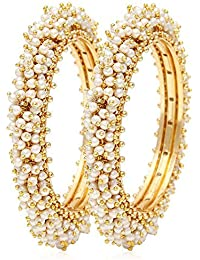 Shining Diva 18k Gold Plated Traditional Jewellery Fancy Pearl Bangles For Women And Girls