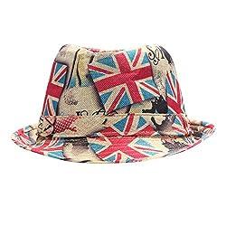 FabSeasons Casual Britain London Printed Fedora Hat