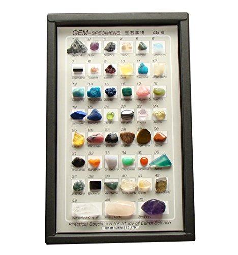 ジェムストーン 宝石鉱物45種 ルーペ付 45種 解説付き