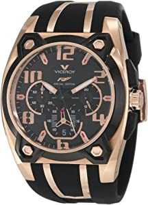 Viceroy Men's 47617-95 Rose Gold-Plated Stainless Steel and Black Rubber Watch