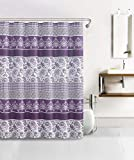 Bathroom Set Waffle Fabric Shower Curtain with 12 Silver Rollerball Hooks: Lilac, Purple, White (HARPER)