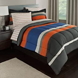 Rugby Stripe Reversible Bed-In-A-Bag Bedding Set blue white orange TWIN (includes only 1 sham)