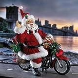 10 Fabriche Free Wheelin Motorcycle Santa Claus Christmas Table Top Figure