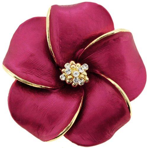 Plum Hawaiian Plumeria Crystal Flower Pin Brooch/Pendant(Chain