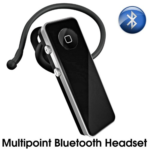Multi-Point Bluetooth Hands-Free Headset With Built-In Echo Cancellation Technology For All Blackberry Phones With Free Wall & Car Charger