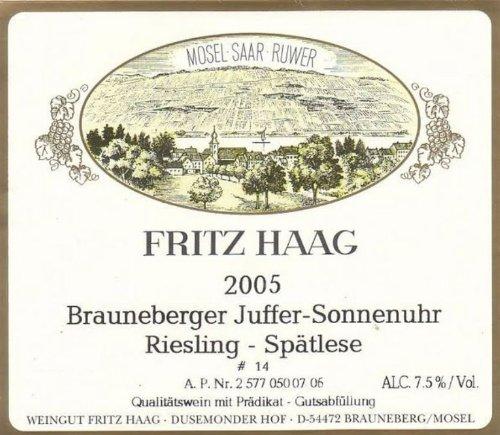 2005 Fritz Haag Brauneberger Juffer-Sonnenuhr Riesling Auslese, Germany 375 Ml