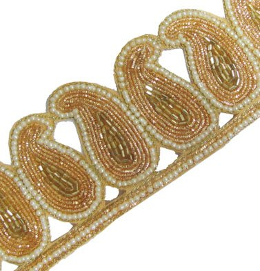 2.5 Yd Paisley Shape Gold Bullion Ribbon Trim India