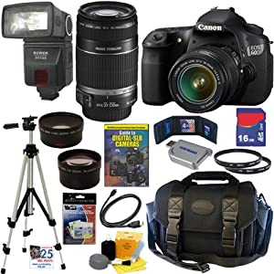 Canon EOS 60D 18 MP CMOS Digital SLR Camera with EF-S 18-55mm f/3.5-5.6 IS Lens & EF-S 55-250mm f/4.0-5.6 IS Telephoto Zoom Lens + Automatic TTL Flash + Telephoto & Wide Angle Lenses + 16GB Deluxe Accessory Kit