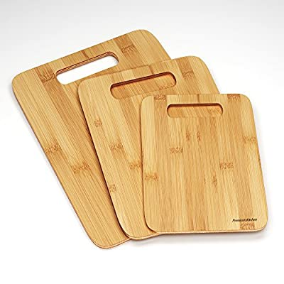 Best 3 Wood Cutting Boards -Premium Chopping Board Block -Large Medium Small Size Set - Anti-microbial and Germ-resistant Bamboo - Heavy Use Cut Board - Great Surface For Your Knives