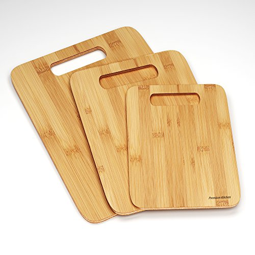 Best 3 Wood Cutting Boards -Premium Chopping Board Block -Large Medium Small Size Set – Anti-microbial and Germ-resistant Bamboo – Heavy Use Cut Board – Great Surface For Your Knives (1, DESIGN 1)