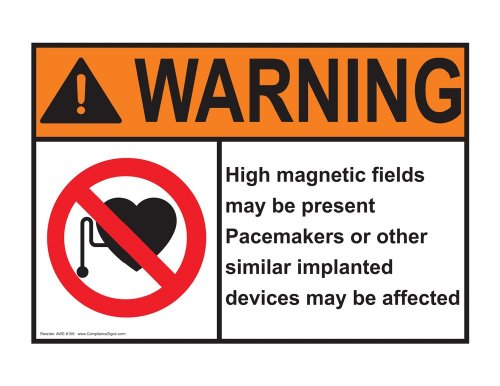 Compliancesigns Aluminum Ansi Warning Sign, 14 X 10 In. With Mri / X-Ray / Microwave Info In English, White