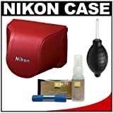 Nikon CB-N2000SE Leather Body Case Set for 1 J1, J2 Digital Camera & 10-30mm Lens (Red) with Cleaning Kit