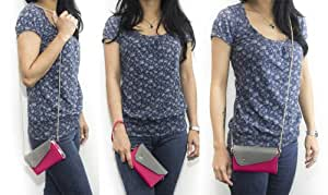 [Link] Sony Xperia ZL Mobile Phone Case Wrist-let Shoulder Bag Women's Wallet with Chain - HOT PINK / MAGENTA & GREY. Bonus Ekatomi Screen Cleaner
