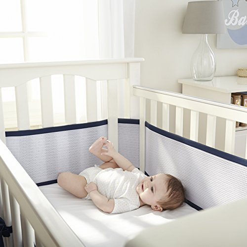 breathablebaby deluxe breathable mesh crib liner navy