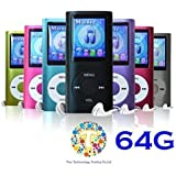 "Thor 64 GB Slim 1.8"" LCD Mp3 Mp4 Player Media/Music/Audio Player with accessories(Black Color)"