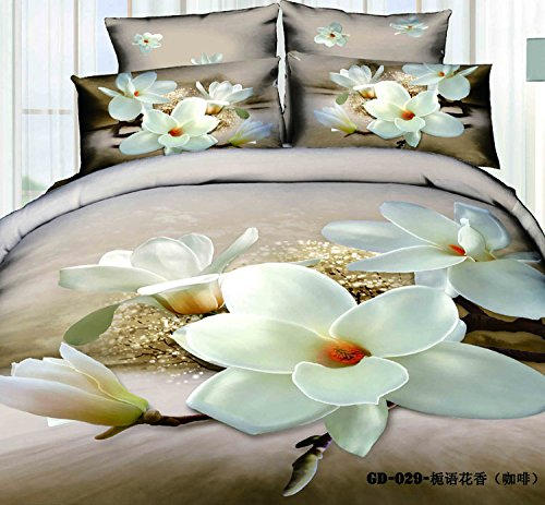 Queen King Size 100% Cotton 7-Pieces 3D White Yulan Flowers Brown Coffee Floral Prints Fitted Sheet Set With Rubber Around Duvet Cover Set/Bed Linens/Bed Sheet Sets/Bedclothes/Bedding Sets/Bed Sets/Bed Covers/ Comforters Sets Bed In A Bag (King) front-759053