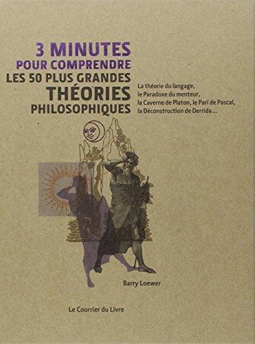 3 minutes pour comprendre les 50 plus grandes théories philosophiques : la théorie du langage, le Paradoxe du menteur, la Caverne de Platon, le Pari de Pascal, la Déconstruction de Derrida...