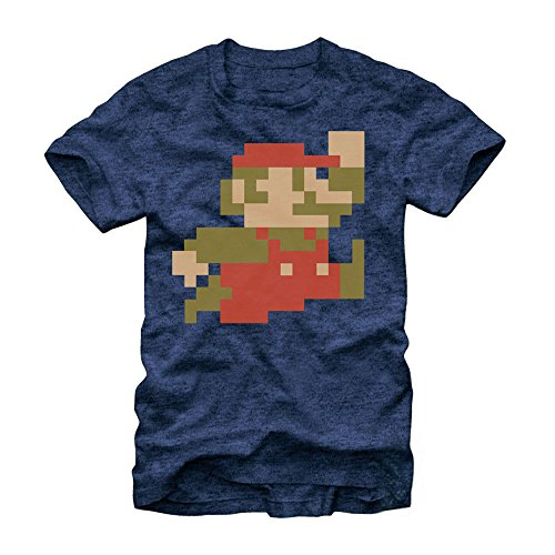 Nintendo Super Mario Bros 8-Bit Pixel Sprite T-Shirt - Navy Heather (X-Large)