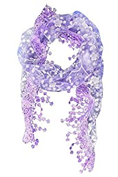 Babyla Lace Tassel Sheer Burnt-out Floral Print Triangle Mantilla Scarf Shawl Neck Wrap (Purple)