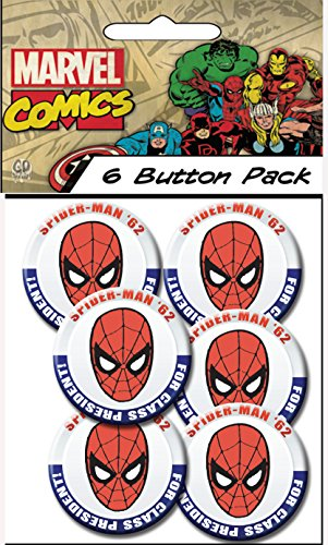 "C&D Visionary Marvel Comics (Retro) Spider Man President 1.5"" Button (6-Piece) - 1"