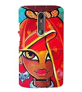 animated traditional indian girl 3D Hard Polycarbonate Designer Back Case Cover for Motorola Moto X3 :: Motorola Moto X (3rd Gen)