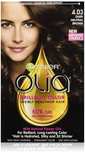 Garnier Hair Color Olia Oil Powered Permanent Color, 4.03 Dark Neutral Brown (Packaging May Vary)