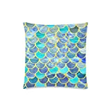 Mermaid Fish Scales Rectangle Sofa Home Decorative Throw Pillow Case Cushion Cover Cotton Polyester Twin Side Printing 18