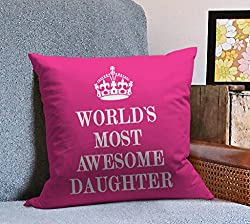 Tied Ribbons daughter day gifts Printed Cushion(12 Inch X 12 Inch with Filler)