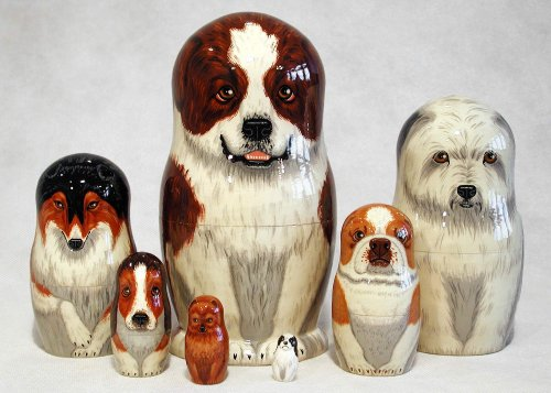 St. Bernard Russian Nesting Doll 7pc./8