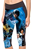 COCOLEGGINGS Women's Star Wars Printed Stretchy Athletic Capri Leggings M
