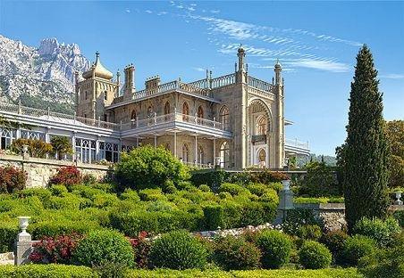 PUZZLE 1000 Teile - Vorontsov Palast Alupka Ukraine Landschaft Burg Schloß