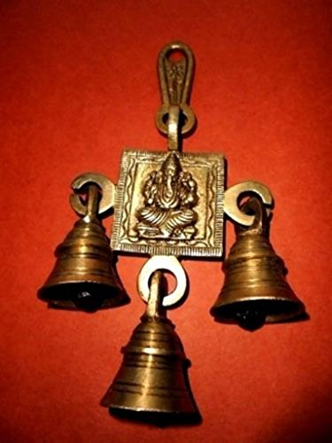 Beautiful Dwali gift : Brass Hanging Bells with Hindu God Ganesha engraved for Door Home Decor /Religious Puja/ Aarti /Ganesh Chautharthi