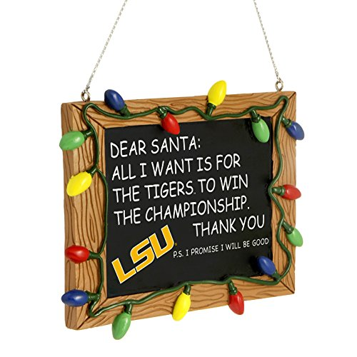 LSU Tigers Official NCAA 3 inch x 4 inch Chalkboard Sign Christmas Ornament by Forever Collectibles (Tigers Merchandise compare prices)