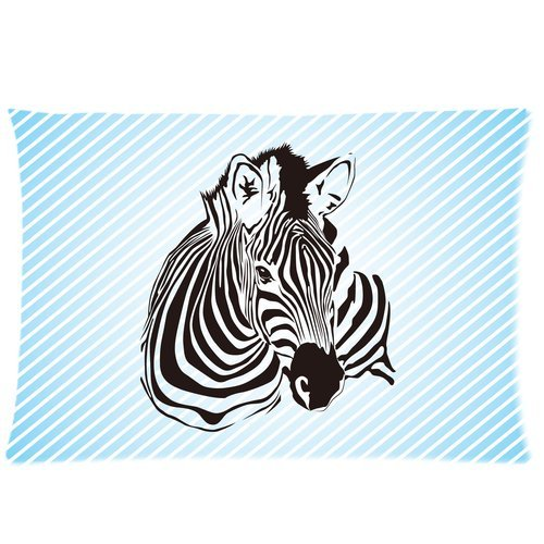 Black And White Animal Zebra And Blue Stripes Custom Zippered Bed Pillow Cases 20X30 (Twin Sides) front-975310