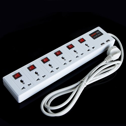 Tomtop 6 Universal Outlet & 2 Usb Charger Port Power Strip Surge Protector Circuit Breaker