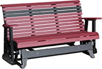 Hot Sale Outdoor Polywood 5 Foot Porch Glider - Plain Rollback Design *WEATHERWOOD/CHESTNUT BROWN* Color
